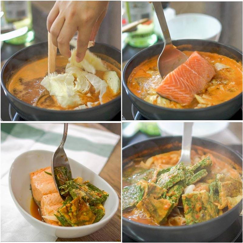 วิธีทำแกงส้มชะอมปลาแซลมอน