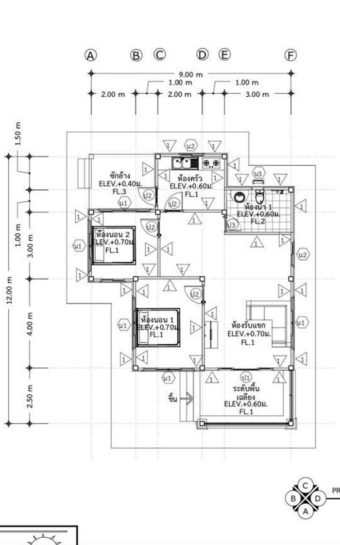 แบบบ้านโมเดิร์นชั้นเดียว 2 ห้องนอน 1 ห้องน้ำ