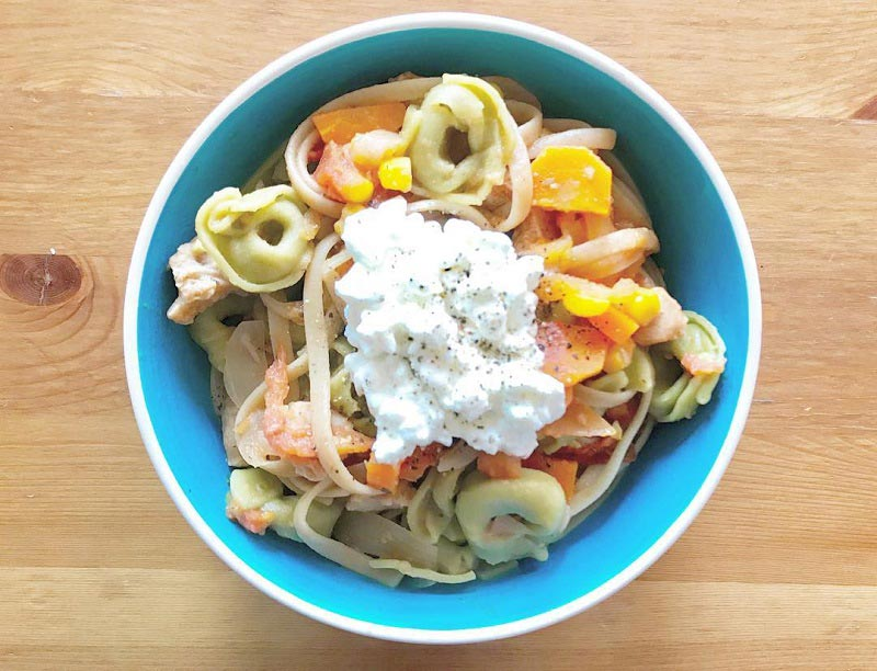 Pasta Tomato Sauce with Cottage Cheese